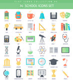 Vector school color flat icon set. Elegant style design. Royalty Free Stock Image