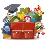 Vector School Concept with Briefcase Stock Photography