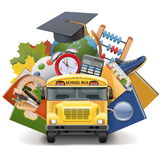 Vector School Concept with Bus Stock Photography