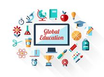 Vector school flat design composition Royalty Free Stock Image