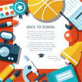 Vector school flat design flyer template Royalty Free Stock Images