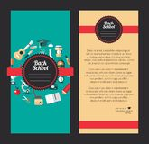 Vector school flat design flyer templates. Illustration of vector school flat design flyer templates Royalty Free Stock Images