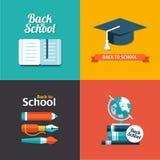 Vector school flat design flyers templates. Vector school flat design modern flyers templates Stock Images