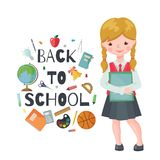 Vector School girl character isolated on white vector illustration