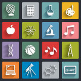 Vector School icons set with shadows Royalty Free Stock Photos