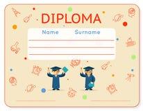 Vector school kids diploma certificate Stock Images