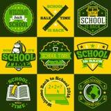 Vector School labels set. With schoolbus, book, backpack, pencils, ruler. globe etc. Stock Photo