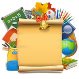 Vector School Paper Scroll Royalty Free Stock Photo