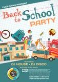 Vector school party invitation disco style Stock Photos