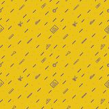 Vector school pattern on yellow background. With modern line style cyan color education supplies such us pen, glass, ruler, pencil, brush  for poster, party Stock Images
