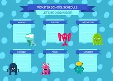 Vector school schedule with ribbons, cartoon monsters on circles background Royalty Free Stock Photography