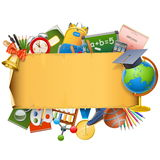 Vector School Scroll with Globe Royalty Free Stock Images