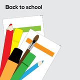 Vector School supplies pencils, brush and markers. Flat vector backgraound with school supplies - pencils, brush, markers and paper Vector Illustration