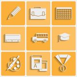 Vector school theme icons set Royalty Free Stock Photography