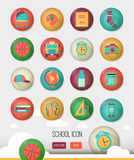 Vector school workspace. Education icons set in stock illustration