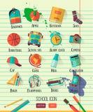 Vector school workspace illustration on line notebook paper. Education school icons set. Flat style, long shadows. High school obj Stock Photos