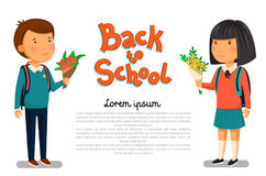 Vector Schoolboy and schoolgirl with Back to school text template. Happy Boy and girl with backpacks holding bouquets of. Flowers for their teacher. Elementary Royalty Free Stock Photos