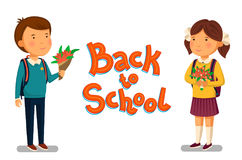Vector Schoolboy and schoolgirl with Back to school text template.. Happy Boy and girl with backpacks holding bouquets of flowers for their teacher. Elementary Stock Image