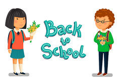 Vector Schoolboy and schoolgirl with Back to school text template.. Vector Schoolboy and schoolgirl with Back to school text template. Redhead Boy and asian Royalty Free Stock Image