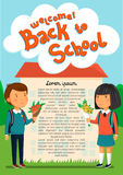 Vector Schoolboy and schoolgirl with welcome text template. Welcome to school banner. Happy Boy and girl with backpacks. Holding bouquets of flowers for their Stock Photos