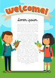 Vector Schoolboy and schoolgirl with welcome text template. Welcomre to school banner. Happy Boy and girl with backpacks. Holding bouquets of flowers for their Royalty Free Stock Images