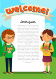 Vector Schoolboy and schoolgirl with welcome text template. Welcomre to school banner. Happy Boy and girl with backpacks. Holding bouquets of flowers for their Royalty Free Stock Image