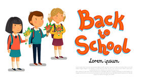 Vector Schoolboy and schoolgirls with Back to school text template. Happy Boy and girl with backpacks holding bouquets Stock Images
