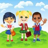 Vector schoolchildren of different nationalities stock images