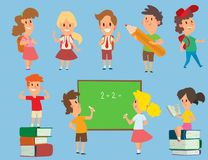 Vector schoolkids study back to school childhood happy primary education school young character illustration. School. Kids education and happy study at primary Stock Photo