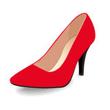 Vector Schuhe, Frauen ` s roten klassischen Bootsschuh auf der Spitze des hohen Absatzes, lokalisiert Stockbilder