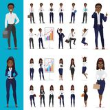 Vector Schwarzafrikaner-amerikanischen Geschäftsmann- und Geschäftsfrauarbeitsbürocharakterdesignsatz Lizenzfreie Stockbilder
