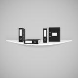 Vector schwarze Büroordner mit dem Bogenmechanismus auf lokalisiert Lizenzfreie Stockfotos
