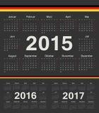 Vector schwarze deutsche Kreiskalender 2015, 2016, 2017 Stockfoto