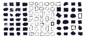 Vector schwarze Farbe, Tintenb?rstenanschlag, Beschaffenheit Schmutziges k?nstlerisches Gestaltungselement, Kasten, Rahmen oder H vektor abbildung