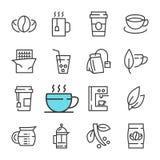 Vector schwarze Linie Kaffee und die eingestellten Teeikonen Stockfotos