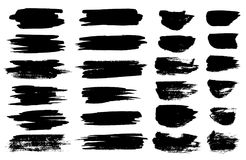 Vector schwarze Pinselstellen, Leuchtmarkerlinien oder horizontale Kleckse der Filzstiftmarkierung Markierungsstift oder -Pinsels Stockbilder