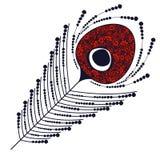 Vector schwarze und rote dekorative dekorative Illustration der Pfaufeder Stockfoto