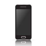 Vector schwarzen realistischen Handy, den Smartphone, der auf weißem Hintergrund lokalisiert wird Lizenzfreies Stockbild