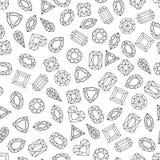 Vector schwarzes weißes nahtloses Muster mit Linie Edelsteine und Juwelen Lineare Diamanten mit unterschiedlichem Schnitt, einfar Lizenzfreie Stockfotografie