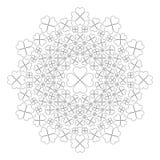 Vector Schwarzweiss-Frühlingsmandala mit vier Kleeblättern - erwachsene Malbuchseite Lizenzfreies Stockfoto