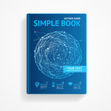 Vector science book with abstract sphere. Flat Stock Photo