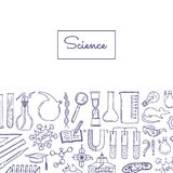 Vector science or chemistry elements background. Vector banner with sketched science or chemistry elements background with place for text illustration Royalty Free Stock Photo