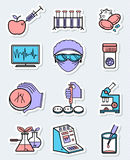 Vector science and genetic laboratory icons set in thin simple l vector illustration