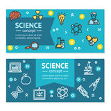 Vector Science Research Horizontal Banners Posters Card Set Template. Science Research Horizontal Banner Posters Card Set Template witch Color Outline Icons Stock Illustration