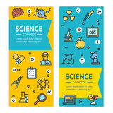 Vector Science Research Vertical Banners Posters Card Set Template. Science Research Vertical Banner Posters Card Set Template witch Color Outline Icons. Vector Royalty Free Illustration