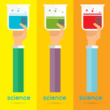 Vector science test tube icon set arm and hand Royalty Free Stock Photos