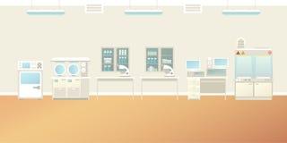 Vector scientific laboratory interior empty scene in flat style.  stock illustration
