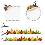Vector scissors cut sticker. Autumn leaf Stock Image