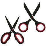 Vector scissors icon, hair cut label, scissors cutting, barber sign icon, cut line on white background, black scissors logo royalty free illustration