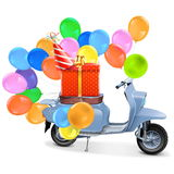 Vector Scooter with Gift and Balloons Stock Photo